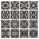 Geometric monochrome seamless patterns set. Vector. Arabic ethnic ornament Royalty Free Stock Image