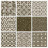 Geometric and monochrome seamless vintage tiles set with aged te Royalty Free Stock Photos