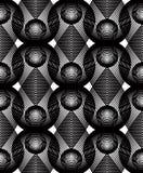 Geometric monochrome stripy overlay seamless pattern, black and Royalty Free Stock Photography