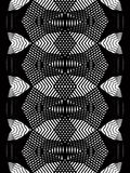 Geometric monochrome stripy overlay seamless pattern. Geometric monochrome stripy overlay seamless pattern, black and white vector abstract background. Graphic Stock Image