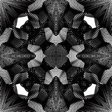 Geometric monochrome stripy overlay seamless pattern, black and. White vector abstract background. Graphic symmetric kaleidoscope backdrop Royalty Free Stock Photography