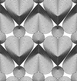 Geometric monochrome stripy seamless pattern, black and white ve Stock Image