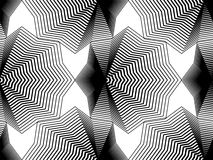 Geometric monochrome stripy seamless pattern, black and white ve Royalty Free Stock Images