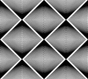 Geometric monochrome stripy seamless pattern, black and white ve Royalty Free Stock Photography