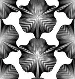 Geometric monochrome stripy seamless pattern, black and white ve Royalty Free Stock Photography