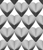 Geometric monochrome stripy seamless pattern, black and white ve Stock Images
