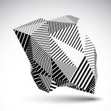 Geometric monochrome vector abstract 3D complicated backdrop, ep Royalty Free Stock Photography