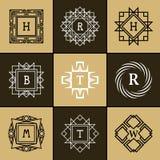 Geometric Monogram logo. Abstract Vector template in trendy mono line style. Vector illustration of Geometric Monogram logo. Abstract template in trendy mono Royalty Free Stock Photo