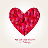 Geometric Mosaic Heart for Valentines Day Stock Photography
