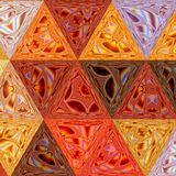 Geometric mosaic pattern triangles colorful orange, yellow, brown stock illustration
