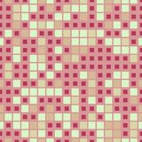 Geometric mosaic seamless pattern. The elements are arranged on pink background and have a square shape. Royalty Free Illustration