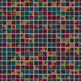 Geometric mosaic seamless pattern. The multicolored elements are arranged on a light gray background and have a square shape. Royalty Free Stock Image