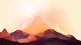 Geometric Mountain and Sunset Background - Vector Illustration Stock Photos