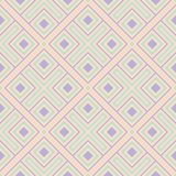 Geometric multi colored seamless pattern. Beige background with violet and blue design elements. For wallpapers, textile and fabrics Royalty Free Stock Image