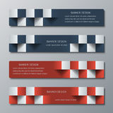 Geometric narrow horizontal banners with the 3D effect for business website. Four template for the header of the site or the advertisement banner royalty free illustration