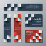 Geometric narrow vertical and wide horizontal rectangular banners with 3d effect for a business website. Five banners advertising business templates vector illustration