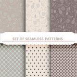 Geometric natural fruits Seamless Patterns Royalty Free Stock Photos