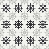Geometric nautical seamless background pattern with steering wheel. Vector illustration texture for design, wallpaper. Geometric nautical seamless background Royalty Free Stock Photography