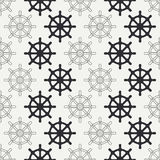 Geometric nautical seamless background pattern with steering wheel. Vector illustration texture for design, wallpaper. Geometric nautical seamless background Royalty Free Stock Photos