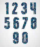 Geometric numbers decorated with blue pixel texture. Stock Images