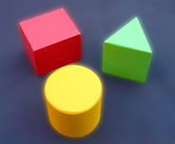 Geometric objects. Wooden geometric colored objects stock photo