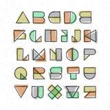 Geometric offset printing style font Stock Photo