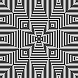 Geometric optical illusion black and white seamless pattern Royalty Free Stock Images