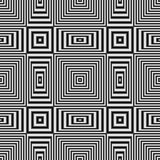 Geometric optical illusion seamless pattern with black and white stripes Royalty Free Stock Images