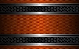 Geometric orange background with metal grille and frame with shiny edging. Geometric dark orange background with metal grille and frame with shiny edging stock illustration