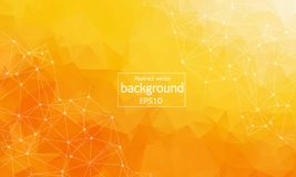 Geometric Orange Polygonal background molecule and communication. Connected lines with dots. Minimalism background. Concept of the. Science, chemistry, biology Royalty Free Stock Images