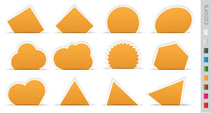 Geometric orange sticker. Set on a white background Royalty Free Stock Photo