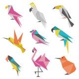 Geometric Origami Birds Icons stock illustration