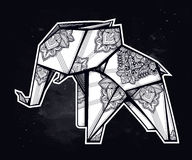 Geometric origami elephant with paisley ornament. Royalty Free Stock Photography