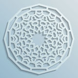 Geometric ornament arabic round pattern background - persian decorative. Vector, 3D Stock Image