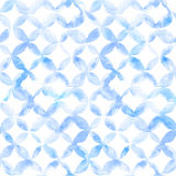 Geometric ornament of blue petals on white background. Watercolor seamless pattern royalty free illustration