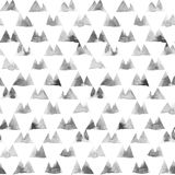Geometric ornament of ink painting triangles on white background. Watercolor seamless pattern royalty free illustration