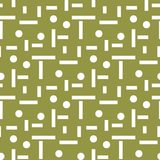 Geometric ornament. Olive green and white seamless pattern. For web, textile and wallpapers Stock Photography