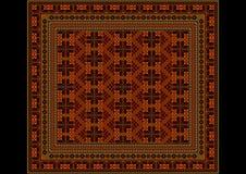 Geometric ornamentin orange and brown shades for carpet Stock Photos