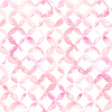 Geometric ornament of pink petals on white background. Watercolor seamless pattern vector illustration