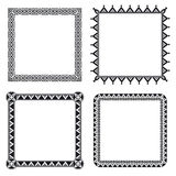 Geometric ornamental frames. Set of four geometric ornamental frames in black and white Stock Images