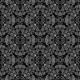 Geometric ornamental line art tracery seamless pattern. Abstract. Patterned black and white background. Geometrical shapes, figures, rhombus, circles, squares Stock Photo