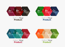 Geometric paper business infographics layouts. Vector set of geometric paper business infographics layouts Stock Image