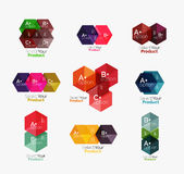 Geometric paper business infographics layouts. Vector set of geometric paper business infographics layouts Royalty Free Stock Images