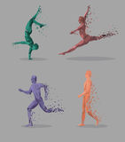 Geometric Particle Run Dance People Royalty Free Stock Photography