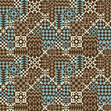 Geometric Patchwork Pattern in Blue and Brown