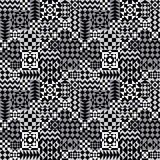 Geometric Patchwork Pattern in Grey. Seamless abstract pattern of geometric shapes in grey, black and white stock illustration