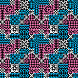 Geometric Patchwork Pattern in Pink and Blue. Seamless abstract pattern of geometric shapes in pink and blue vector illustration