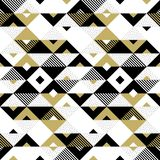 Abstract pattern golden geometric ornament gold triangle square vector background stock illustration