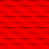 Geometric pattern background abstract red 3d vector brick wall texture. Geometric brick wall texture vector background with shadow effect. Red seamless origami Stock Photography