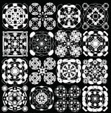 Geometric pattern black and white, ellipse and set squares Stock Photos